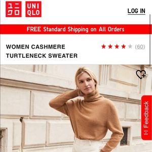 UNIQLO Women's XS Black 100% Cashmere Turtleneck